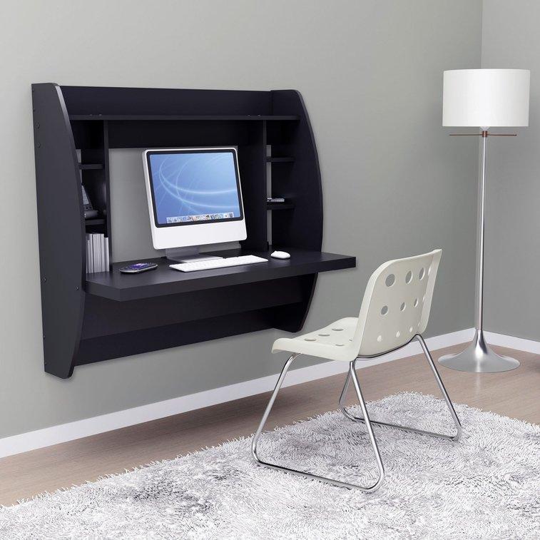 Prepac Floating Desk with Storage - Black - Laptop Computer Desks at Hayneedle