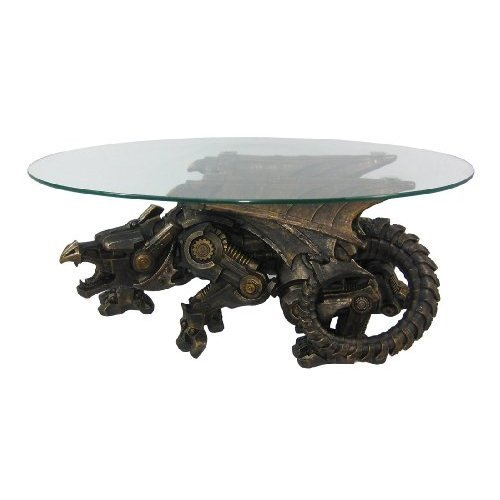 Bronze Finish Steampunk Dragon Glass Top Table