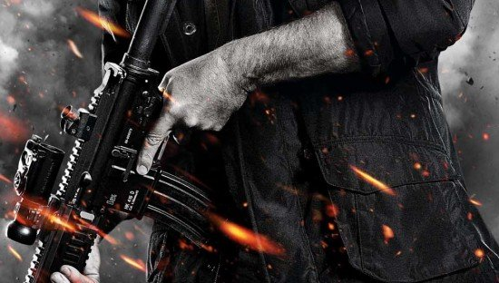 Movie Poster Design Trend: Hero Stands, Weapon In Hand, Before aCloudy Background, With Flying Debris, and Sparks