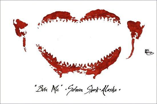 "iva cooney - Work Zoom: ""Bite Me"" Salmon Shark, Alaska (Four-color print)"