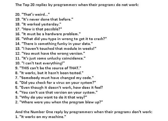 The top 20 replies by programmers when their programs do not work