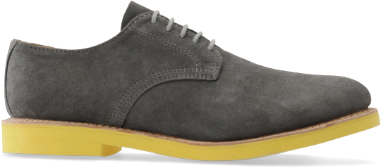 Walkover Mens Derby 100 in Grey Suede/Yellow Sole