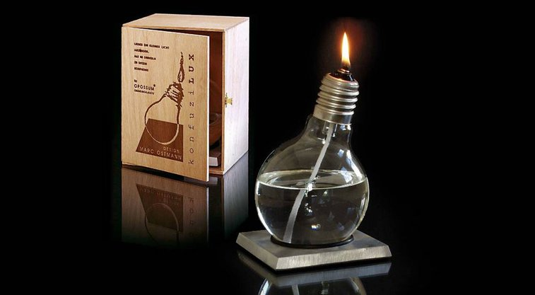 Recycled Light Bulb Oil Lamp
