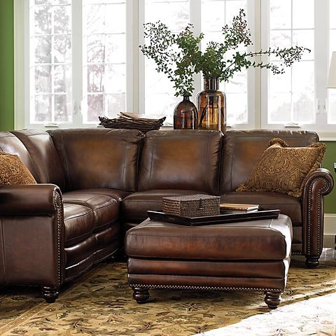 Hand Rubbed Sectional in Brown Leather