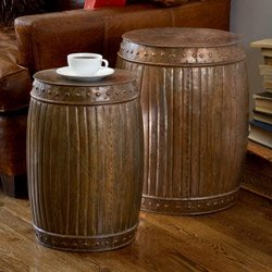 Set of 2 Steel Fluted Round Barrels (India) | Overstock.com
