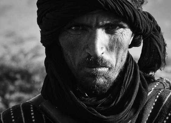 A wandering Berber in the sands of the Moroccan Sahara