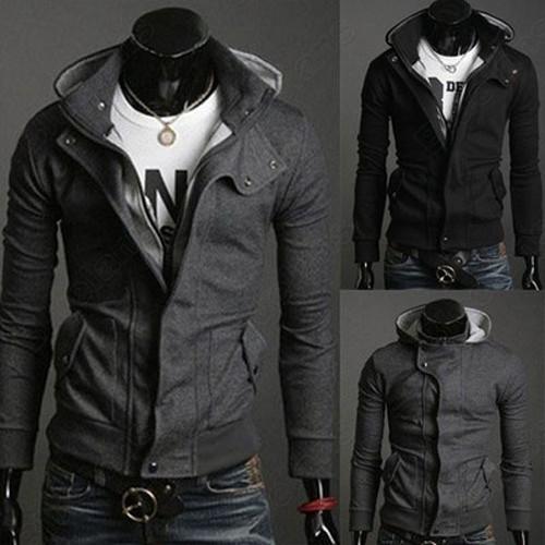 Men/'s hoodies hooded sweater coat zipper Sweatshirts  korean slim jacket outwear
