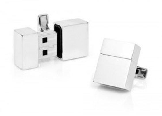 Stainless Cufflinks with Secret USB Storage