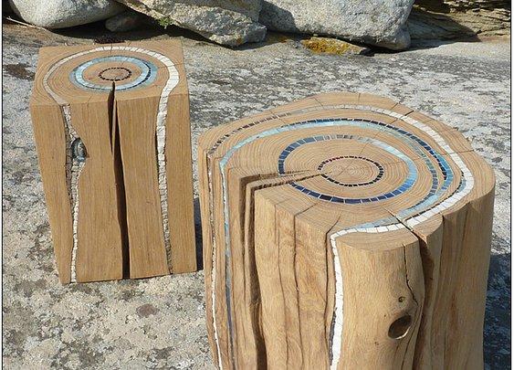 Stumps as art furniture or sculptures