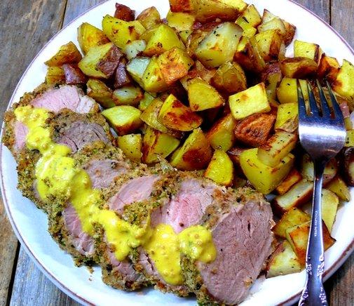 Pepper Crusted Pork Tenderloin with Savory Mustard Sauce