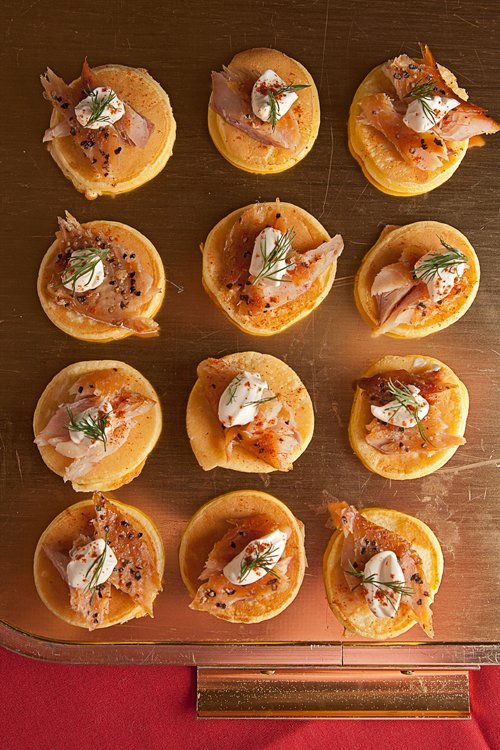 Smoked Trout Blinis with Creme Fraiche and Dill