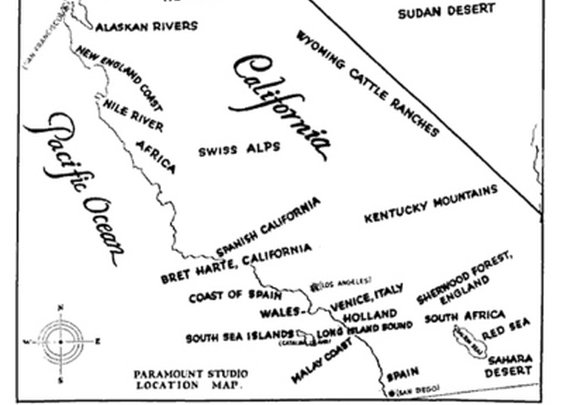 A 1927 Paramount Studio Map of the southern California...