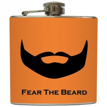 "Liquid Courage Flasks: ""Fear The Beard"" - Full Beard on Orange Flask"