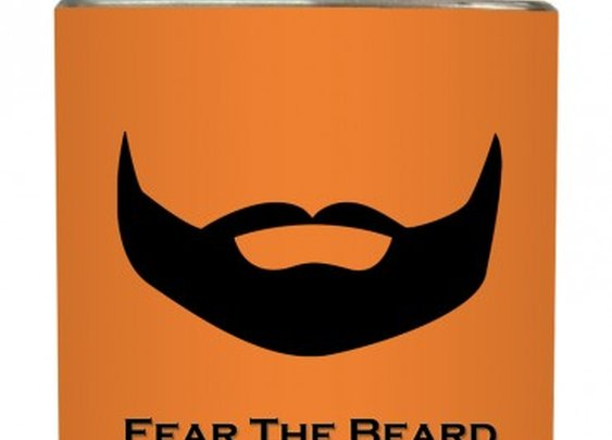 "Liquid Courage Flasks: ""Fear The Beard"" - Full Beard on Orange Flask"
