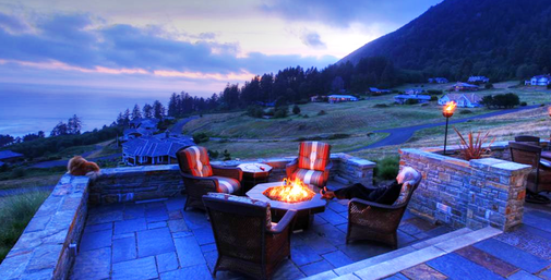 Relaxation in Garden with Cozy Outdoor sitting Area  with fireplace