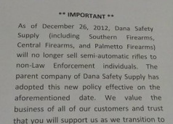 Sheriff Pulls Business From Dana Safety Supply Because They Stopped Selling Semi-Automatic Rifles To Civilians
