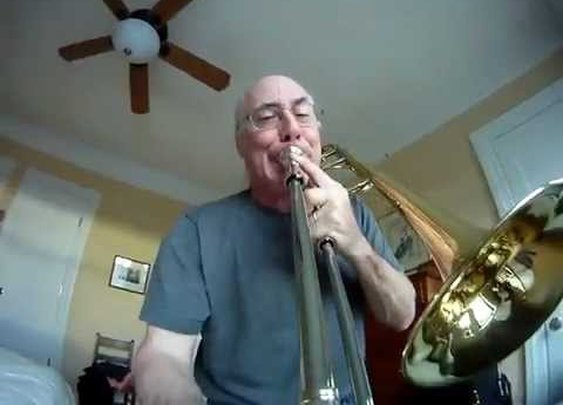 Trombone Playing As Seen From GoPro Camera Mounted on the Slide
