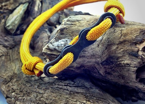 Paracord Bracelet in Yellow with Bike Chain by DesignedTurning