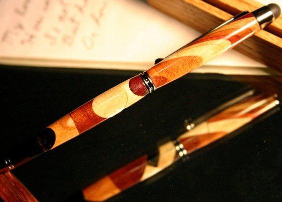 Wood pen stylus in kaleidoscope abstract wood by HopeAndGracePens