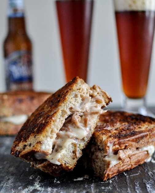 There goes my weight loss resolution.  Crockpot Pulled Pork + Beer Cheese Grilled Cheese Sandwiches