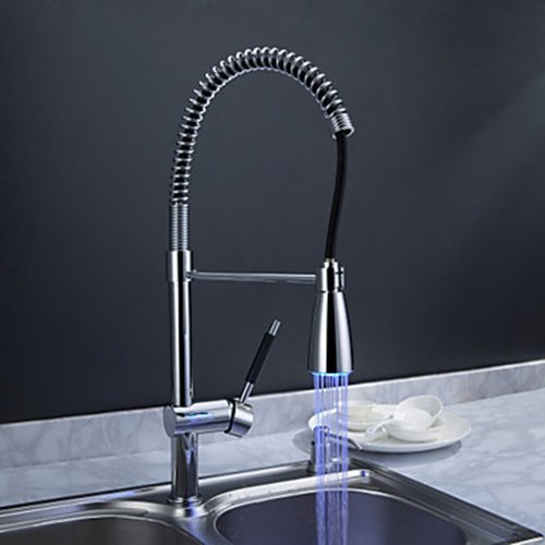Solid Brass Spring Kitchen Faucet with Color Changing LED Light - FaucetSuperDeal.com
