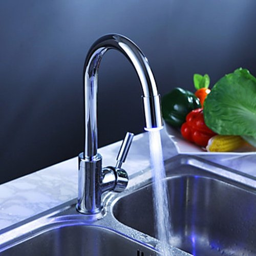 Chrome Finish Kitchen Faucet with Color Changing LED Light - FaucetSuperDeal.com