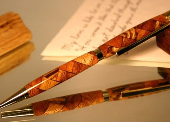 Wood pen stylus in stunning triple wood pattern by Hope & Grace Pens