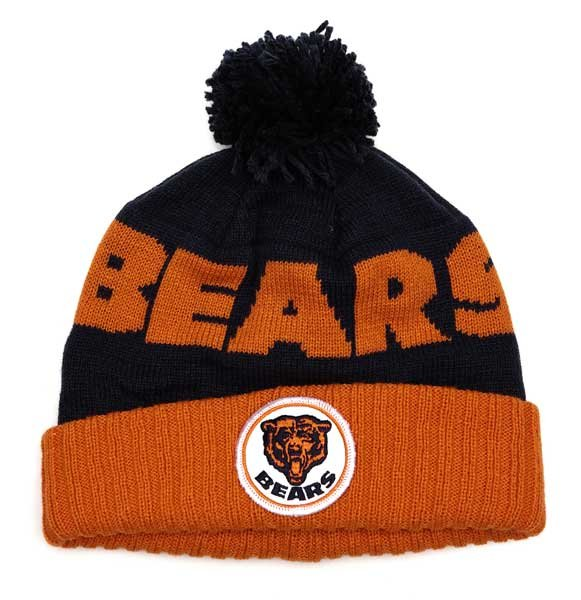 chicago bears vintage stripe cuffed pom knit hat gentlemint. Black Bedroom Furniture Sets. Home Design Ideas