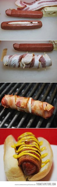 Cheese Stuffed Bacon Wrapped Hot Dog... - The Meta Picture