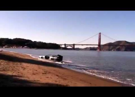 DeLorean Hovercraft Flying Around the Water's Edge in San Francisco