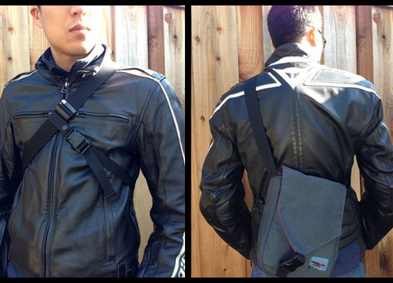 Messenger Stabilizer is designed to keep your bag close and prevent it from swinging around to the front when you're riding a bike/motorcycle