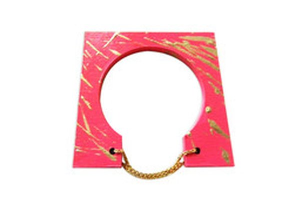 Wooden Chain Bangle in Pink & Gold