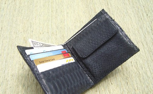 Mens Wallet Snakeskin Wallet with coin slot
