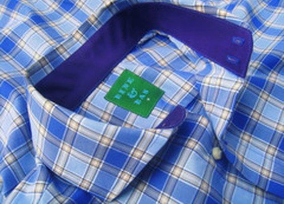 Karsten Button Blue & Tan Plaid Shirt