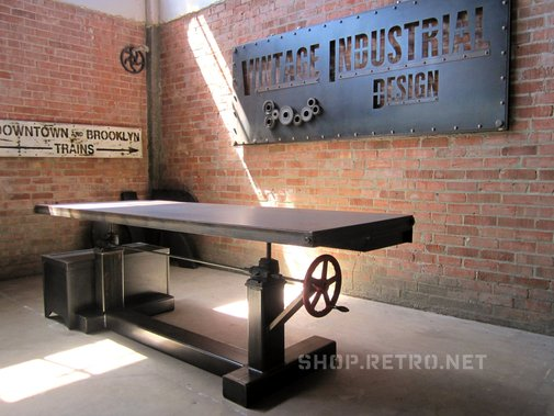 French Industrial Adjustable Height Desk