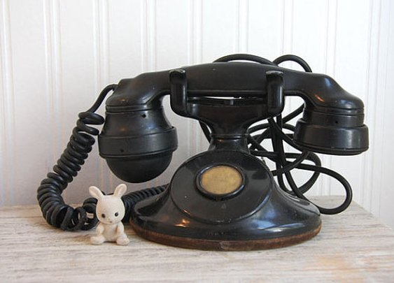 Antique Phone Black 1920s Bakelite Western Electric by MollyFinds