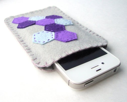 Cell Phone Sleeve Geometric Gray Blue Purple by MartyMakes on Etsy