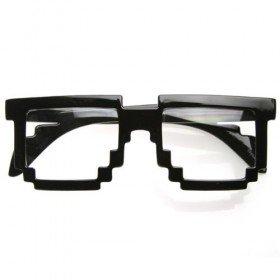 Pixelated 8-Bit Clear Lens Nerd Glasses