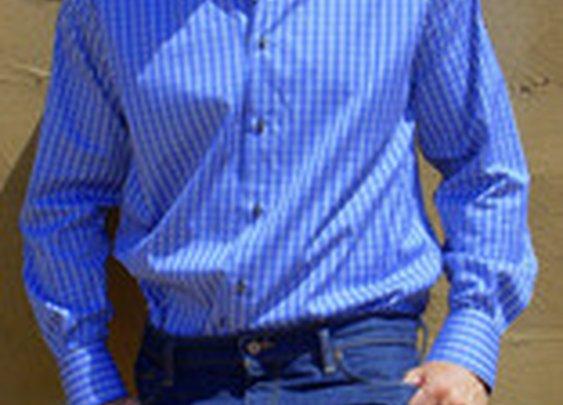 Karsten Button Navy & White Plaid Shirt