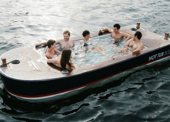 Hot Tub Boat combines cruising and soaking