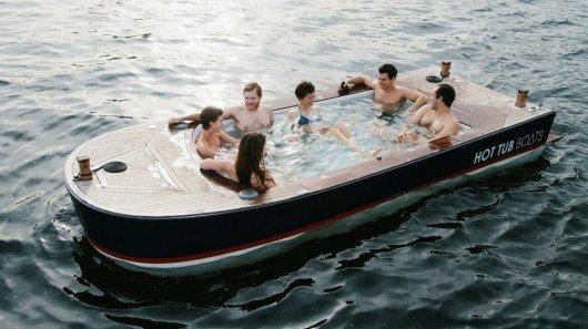 Hot Tub Boat combines cruising and soaking