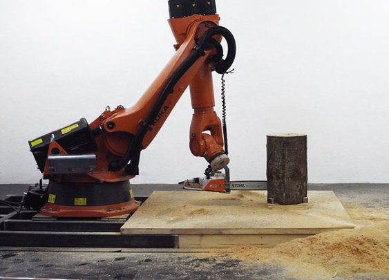 Chainsaw Robot Carves 3 Stacking Stools out of a Block of Wood