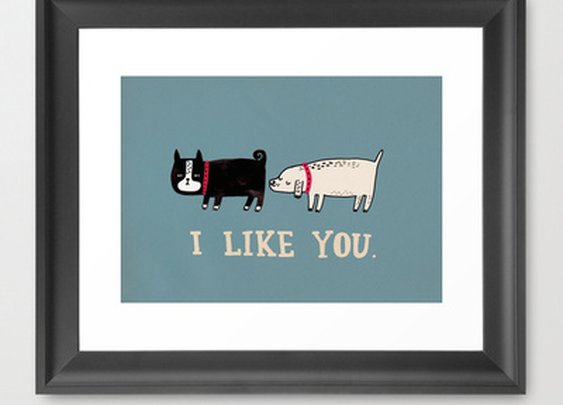I Like You. Framed Art Print by Gemma Correll | Society6