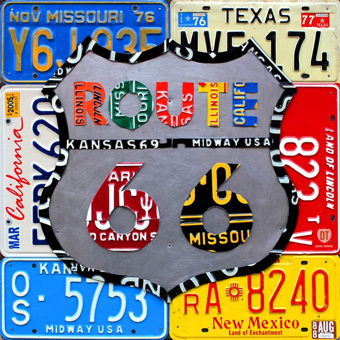 Route 66 Road Sign License Plate Art