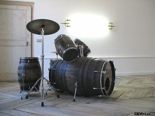 Drum Set Made From Wine Barrels