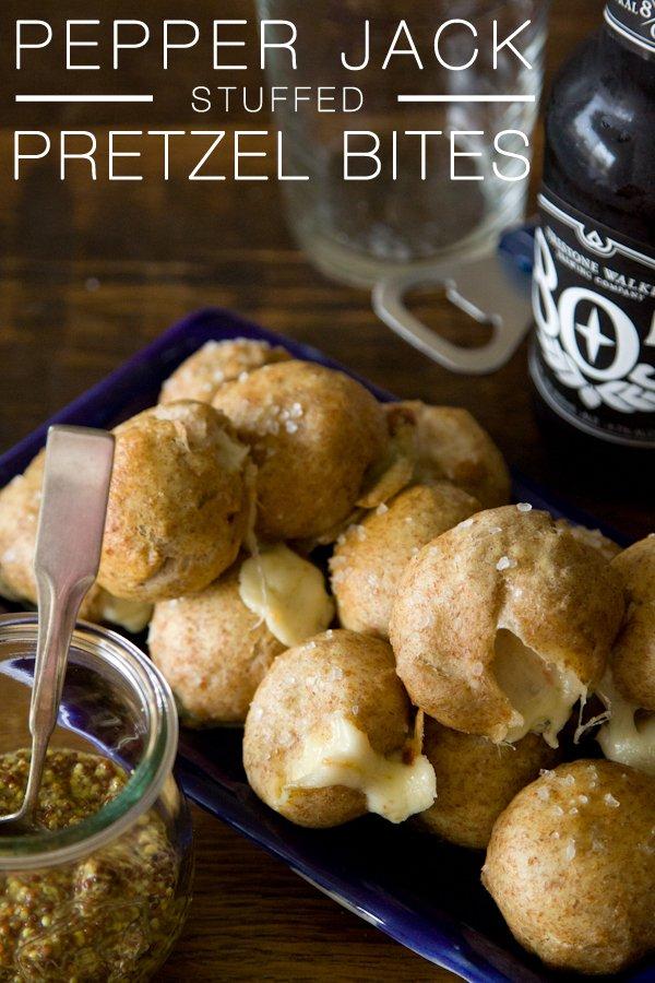 Pepper Jack Stuffed Pretzel Bites