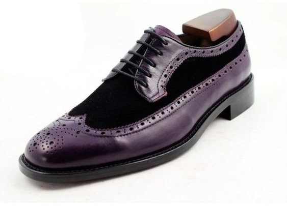 purple calf + black suede longwing derby shoe