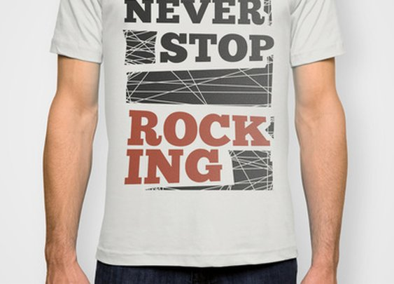 Never Stop Rocking T-shirt by Earmark Social Paper Goods | Society6