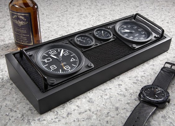 Aviator Dual Time Zone Clock/Caddy - Sporty's Wright Bros