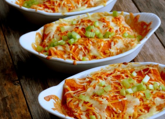 Triple Cheese Buffalo Chicken Enchiladas
